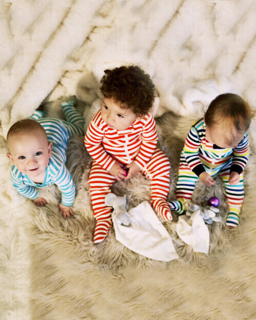 721222722 The Baby Stripe Zip Footie - Footed Baby PJs I Primary.com