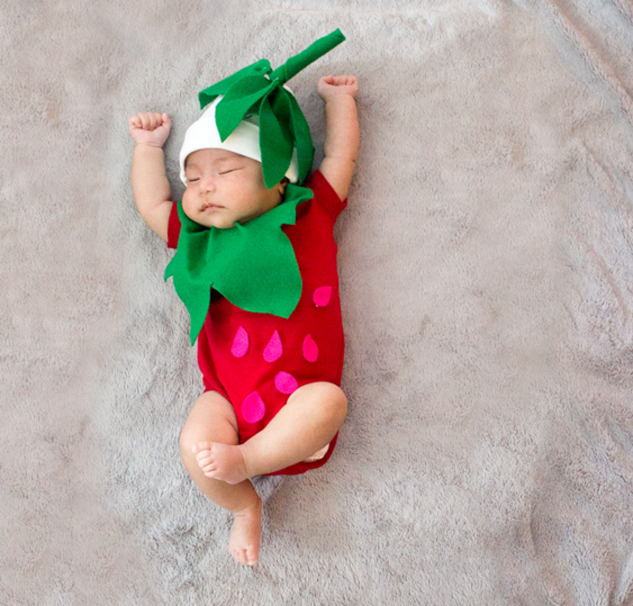 no sew diy baby strawberry baby costume primarycom - Strawberry Halloween Costume Baby