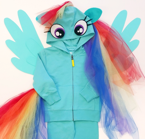 No Sew Diy Rainbow Dash From My Little Pony Kids Costume