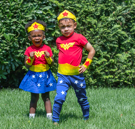 No-Sew DIY wonder woman super heroes Costume | Primary.com  sc 1 st  Primary & No-Sew DIY Wonder woman Kids Costume | Primary.com